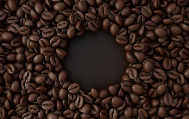 Frischer gerösteter kaffeebohnenrahmen 3d, der hintergrund wiedergibt