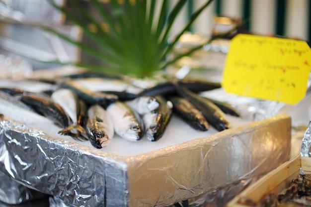 Frischer gesunder fisch auf meeresfrüchtemarkt