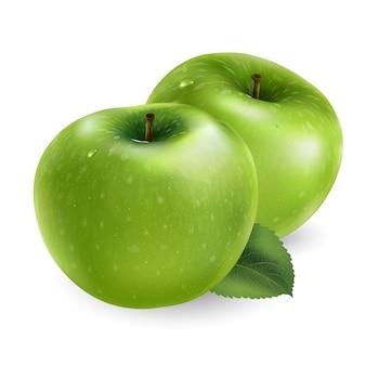 Frischer grüner apfel - gesundes nahrungsmittelentwurf. realistische stilillustration.