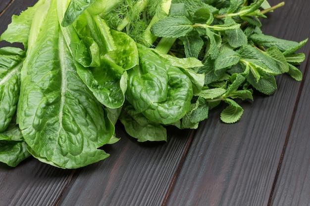 Frischer grüner salat hinterlässt romaine und minzzweig.