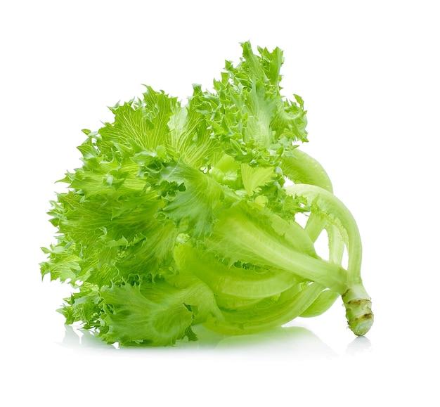 Frischer grüner salat lokalisiert auf weißem hintergrund