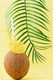 Frischer kokosnusscocktail mit strohhalmen