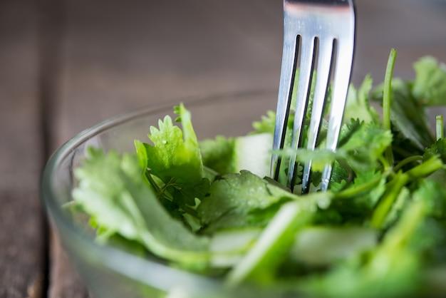Frischer koriandersalat, koriander mit gurkensalat. gesundes essen konzept.