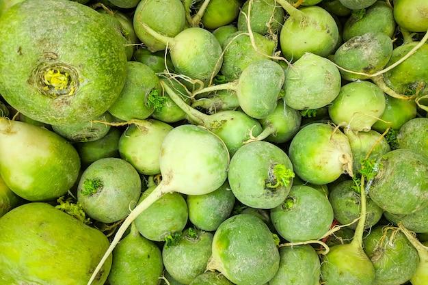 Frischer organischer grüner rettich auf frischmarkt. rettich textur
