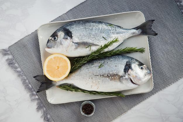Frischer roher dorado-fisch mit zitrone, salz und pfeffer