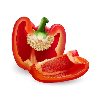 Frischer roter paprika - gesundes lebensmitteldesign. realistische stilillustration.
