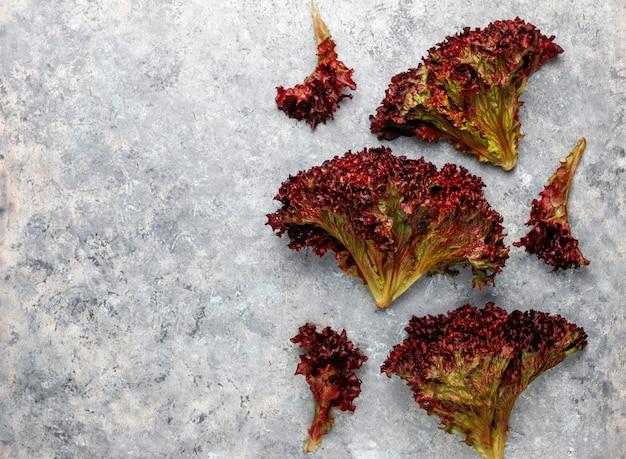 Frischer roter salat auf grauem betontisch, draufsicht