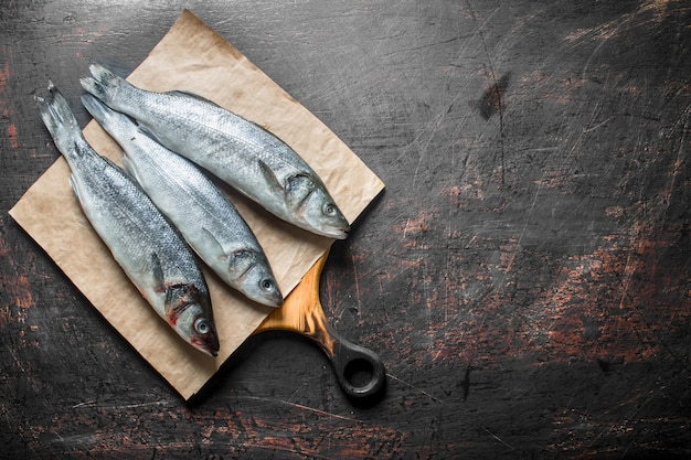 Frischer seebarschfisch auf papier. auf dunklem rustikalem hintergrund