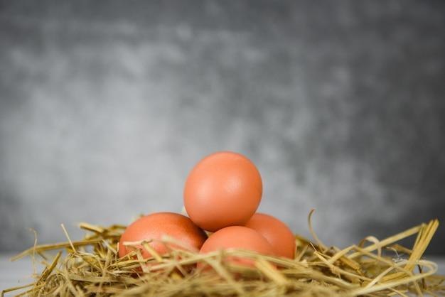 Frisches ei auf stroh mit holztischhintergrund, rohe hühnereien sammeln von den natürlichen eiern der landwirtschaftlichen produkte