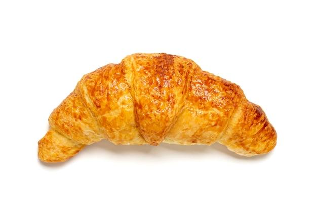 Frisches französisches croissant mit schokolade lokalisiert auf weißem hintergrund