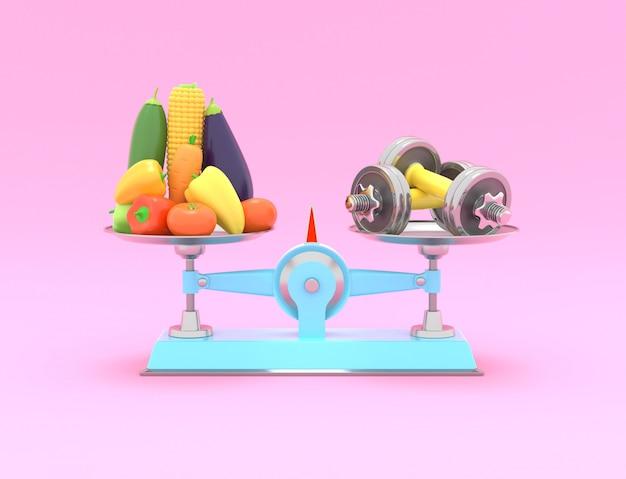 Frisches gemüse und hanteln in verschiedenen maßstäben