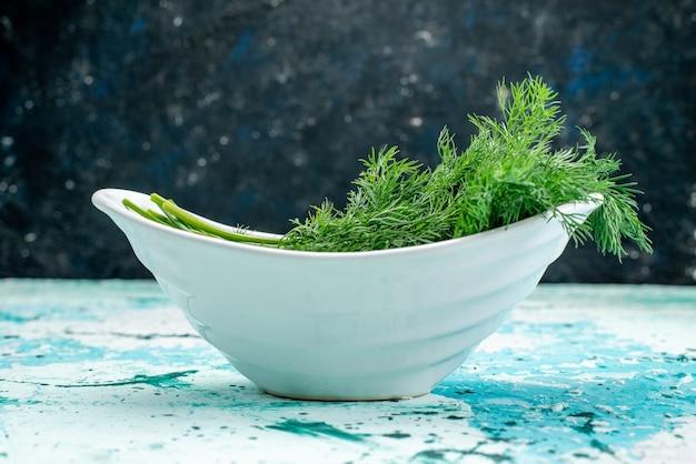 Frisches grün innerhalb der platte auf hellblauem, grünem blattproduktnahrungsmittelmahlzeitgemüse