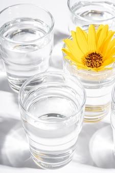 Frisches klares wassergetränk mit gelber blume im glas auf weißem, hartem licht