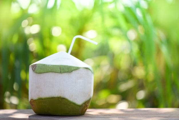 Frisches kokosnusssaftgetränk trinken