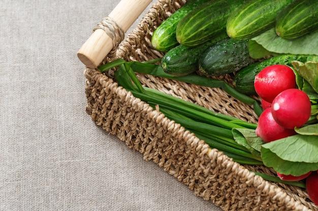 Frischgemüserettiche, gurken, frühlingszwiebeln für salat im kasten auf tabelle. gesundes essen. kopieren sie platz.