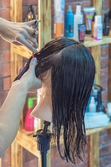 Friseur mit schaufensterpuppen ausbilden. haarstyling an einer schaufensterpuppe trainieren.