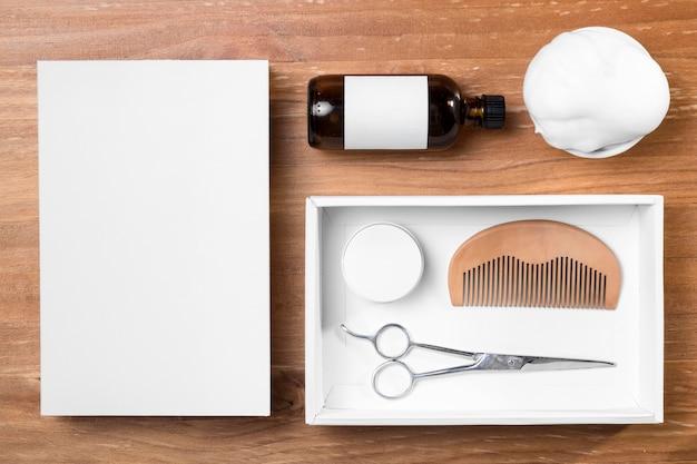 Friseurpflege-werkzeuge und öl draufsicht