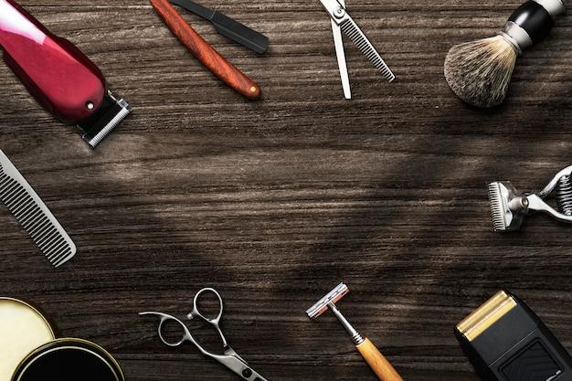 Friseurtapetenhintergrund mit werkzeugen, job und karrierekonzept