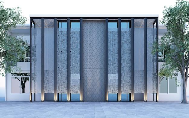 Frlocal boutique-residenz im außenbereich, dekoriert mit polymerplattenstruktur auf architektur und fassadenbau