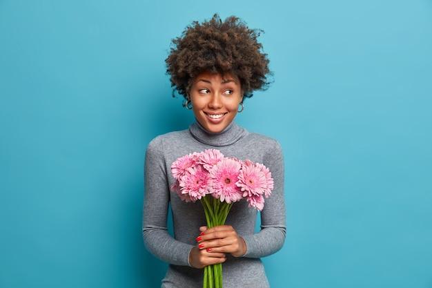 Fröhliche dunkelhäutige dame hält strauß rosa gerbera-gänseblümchen, schaut mit freude und glück beiseite, trägt grauen rollkragenpullover