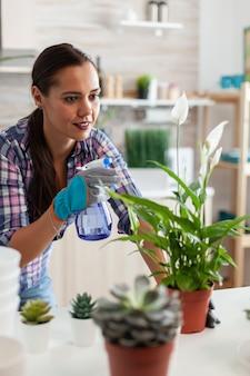 Fröhliche frau, die zu hause pflanzen in der küche kastriert