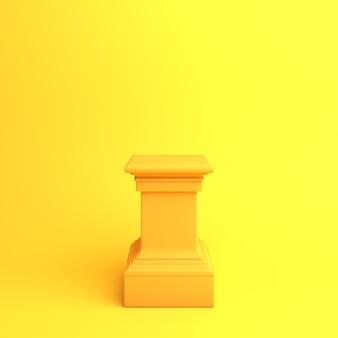 Fröhliche halloween- oder herbstdekoration mit orangefarbenem podiummodell, 3d-rendering