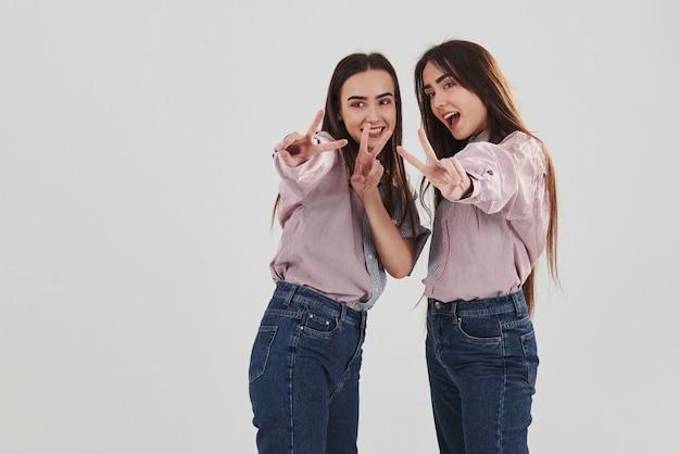 Fröhliche mädchen haben spaß. zwei schwestern zwillinge stehen und posieren