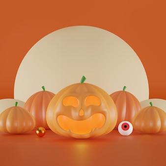 Fröhlicher halloween-hintergrundraum für text 3d-illustration