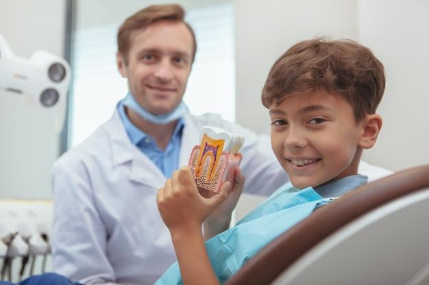 Fröhlicher hübscher junge, der freudig lächelt und zahnmodell hält, das in einem zahnarztstuhl sitzt