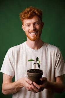 Fröhlicher hübscher rothaariger bärtiger junger hipster, topfpflanze haltend
