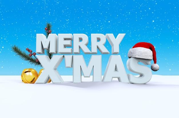 Fröhlicher x mas-guss auf weißem schnee und blauer hintergrund mit santaclaus-hut