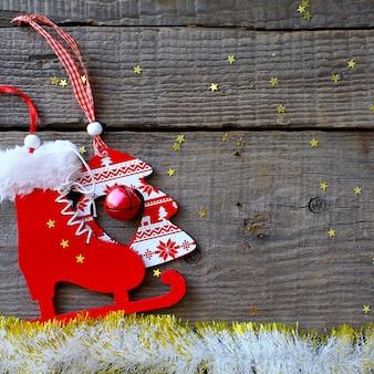 Frohe weihnachten des neuen jahres des glücklichen magischen feiertags rustikal