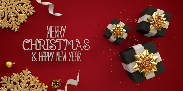 Frohe weihnachten flach legen illustrationskarte mit schwarzen geschenkboxen bändern auf rot