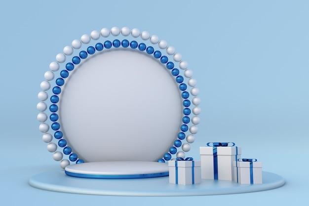 Frohe weihnachten frohes neues jahr 3d blaues podium mit festlichen geschenkboxen mit bändern und perlenbogen