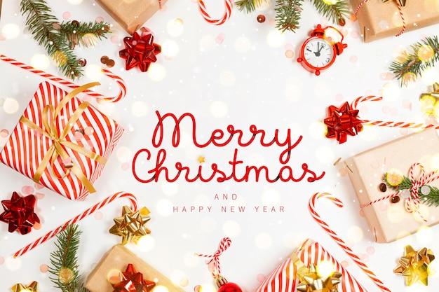 Frohe weihnachten grußkarte mit geschenkboxen