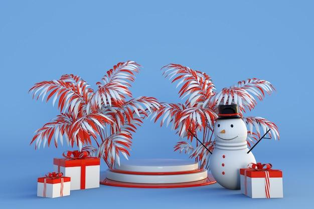 Frohe weihnachten happy new year konzept 3d podium mit tropischen palmen geschenkboxen und schneemann