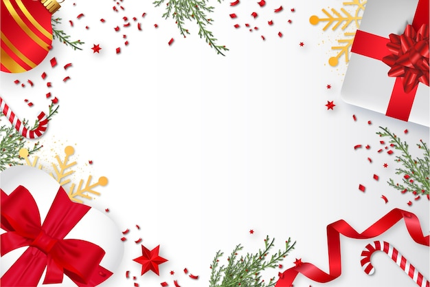 Frohe weihnachten hintergrund mit weihnachtsdekoration