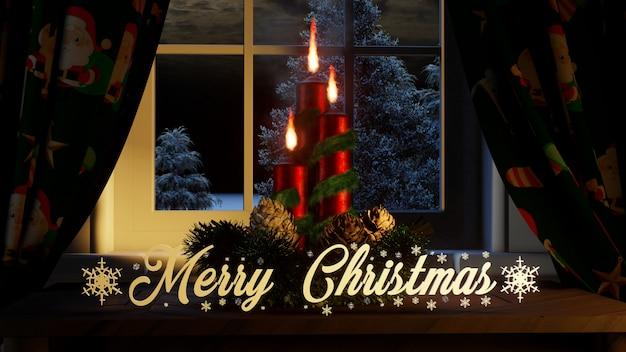 Frohe weihnachten mit ornamenten kerzen vorhänge im fenster und außerhalb nadelbäumen