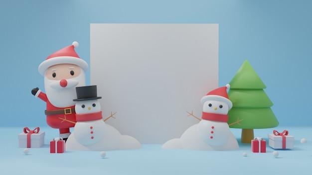 Frohe weihnachten mit platz für text, weihnachtsfeier mit weihnachtsmann, pinguin, schneemann für weihnachtskarte