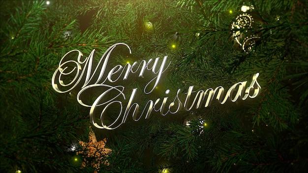 Frohe weihnachten-text, bunte bälle und grüne äste auf glänzendem hintergrund. luxuriöse und elegante 3d-darstellung im dynamischen stil für den winterurlaub