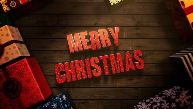 Frohe weihnachten-text, geschenkboxen und grüne äste auf holz hintergrund. luxuriöse und elegante 3d-darstellung im dynamischen stil für den winterurlaub