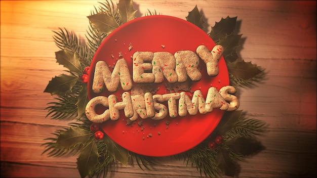 Frohe weihnachten-text, süßigkeiten und weihnachtskuchen auf holz hintergrund. luxuriöse und elegante 3d-darstellung im dynamischen stil für den winterurlaub