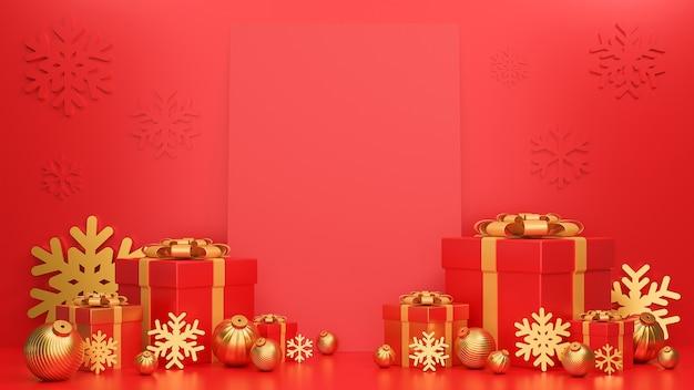 Frohe weihnachten und ein frohes neues jahr banner luxus stil realistische rot und gold geschenkbox mit karte und goldenen weihnachtskugeln.