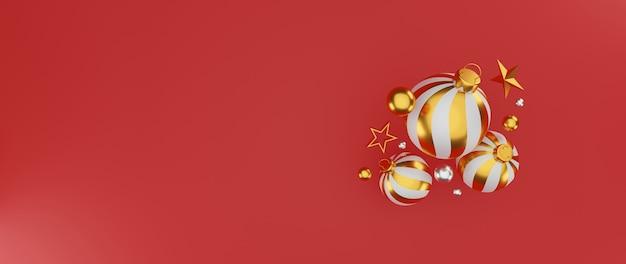 Frohe weihnachten und ein frohes neues jahr hintergrund mit festlicher dekoration und kopierraum. 3d-illustration