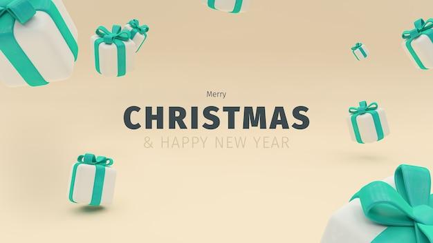 Frohe weihnachten und ein frohes neues jahr illustration von hochwertigen geschenkboxen ein tiffany farbiges weihnachtsgeschenk