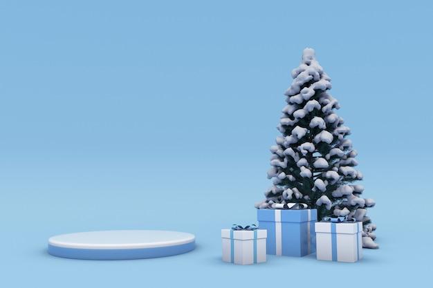 Frohe weihnachten und ein glückliches neues jahr 3d blaues design podium schneebedeckte weihnachtsbaum-geschenkbox