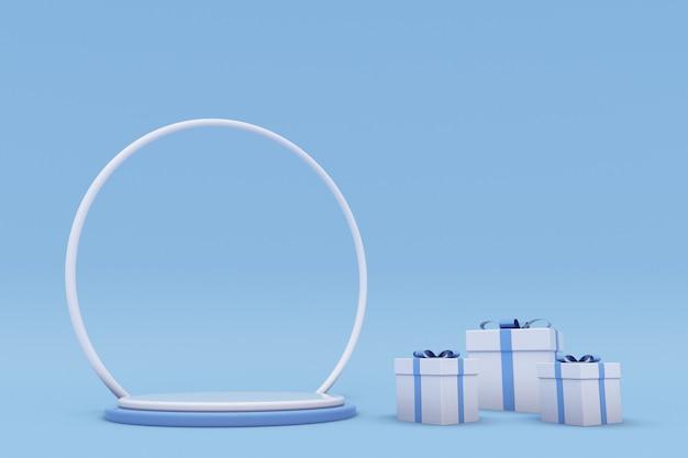 Frohe weihnachten und ein glückliches neues jahr 3d blaues designpodium mit geschenkbox winterurlaub hintergrund