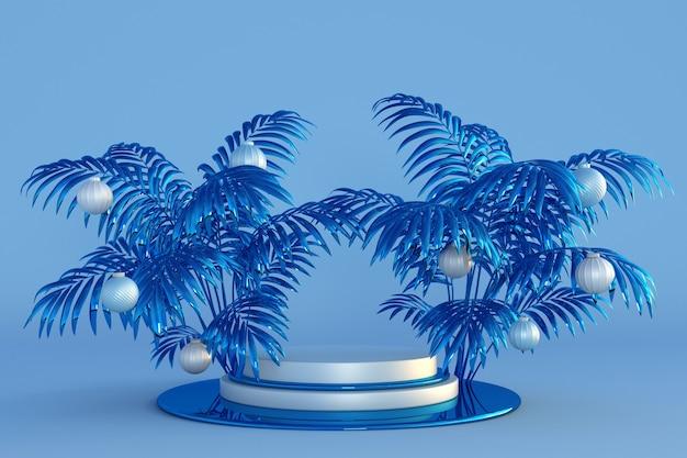 Frohe weihnachten und ein glückliches neues jahr 3d blaues podium mit abstrakten palmen und weihnachtskugeln