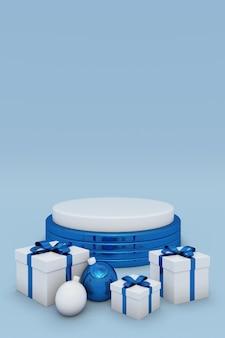 Frohe weihnachten und ein glückliches neues jahr 3d blaues podium mit festlichen geschenkboxen mit bändern