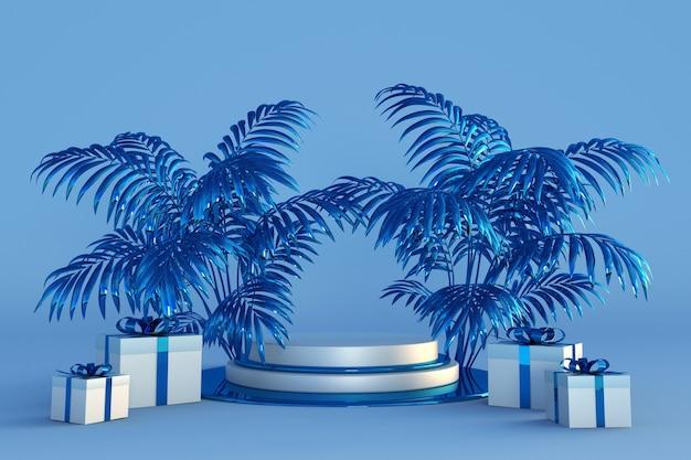 Frohe weihnachten und ein glückliches neues jahr 3d blaues podium mit tropischen palmen und festlichen geschenkboxen